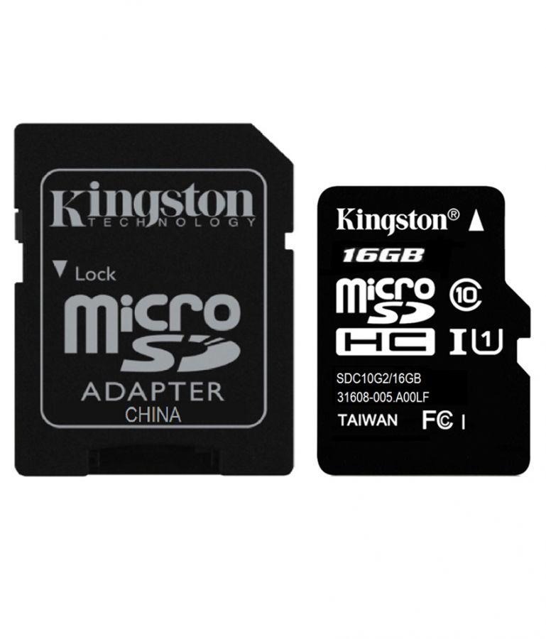 Карта памяти Kingstone microSD Class 10 16 GB+SD адаптер