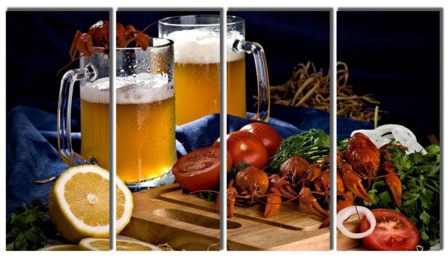 Модульная картина Пиво и раки