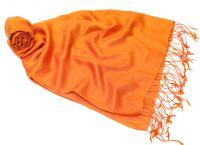 апельсиново оранжевый шарф палантин из натурального шелка с добавлением шерсти. Москва, интернет магазин