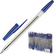 Ручка шар масляная синяя СТАММ Оптима 0,7мм корп прозр/50/250 РО20