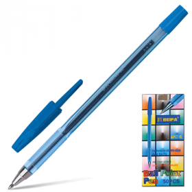 Ручка шар синяя BEIFA 0,5мм корп прозр/50/1000 AA927-BL