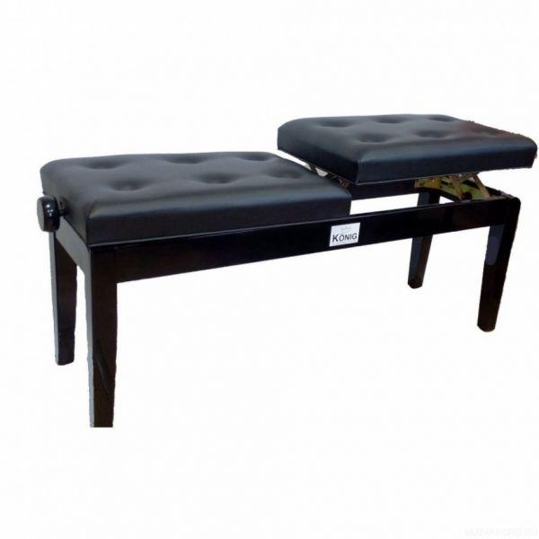 Банкетка для пианино или рояля KONIG KPB-208SS/BK деревянная 2-х местное раздельное сиденье