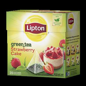 Чай Липтон зеленый Клубничное пироженое с кусочками клубники  (пирамидки) 2г 20пак.