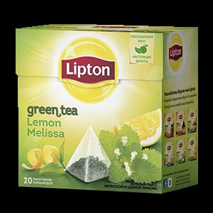 Чай Липтон зеленый лимон и мелисса (пирамидки) 1,6г 20пак.