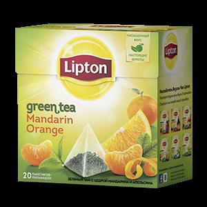 Чай Липтон зеленый Мандарин и апельсин (пирамидки) 1.8г 20пак.