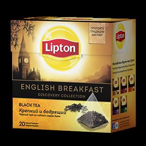 Чай Липтон черный Английский завтрак (пирамидки) 1,8г 20пак.