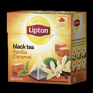 Чай Липтон черный Карамель-ваниль  (пирамидки) 1.8г 20пак.