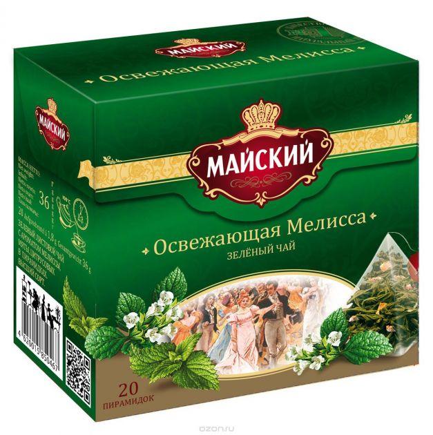 Чай Майский Освежающая Мелисса пирамидки 2г 20пак.