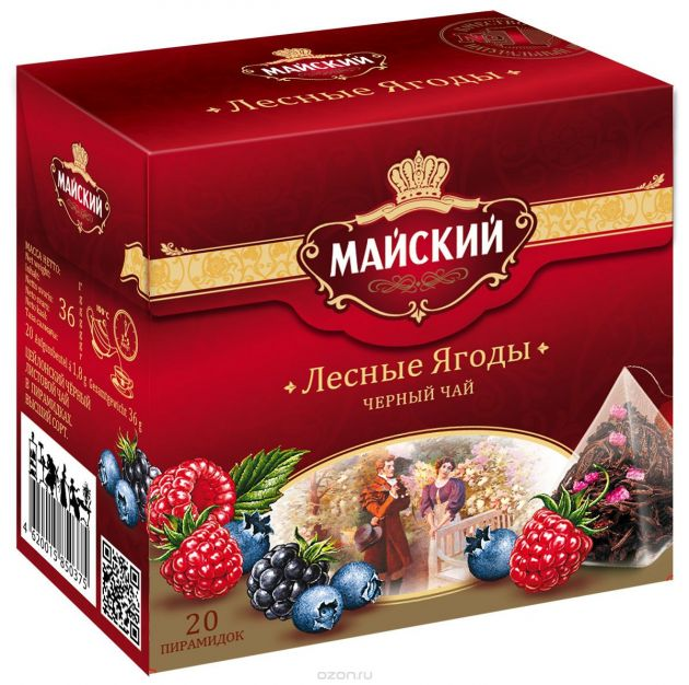 Чай Майский Лесные ягоды пирамидки 1,8г 20пак.