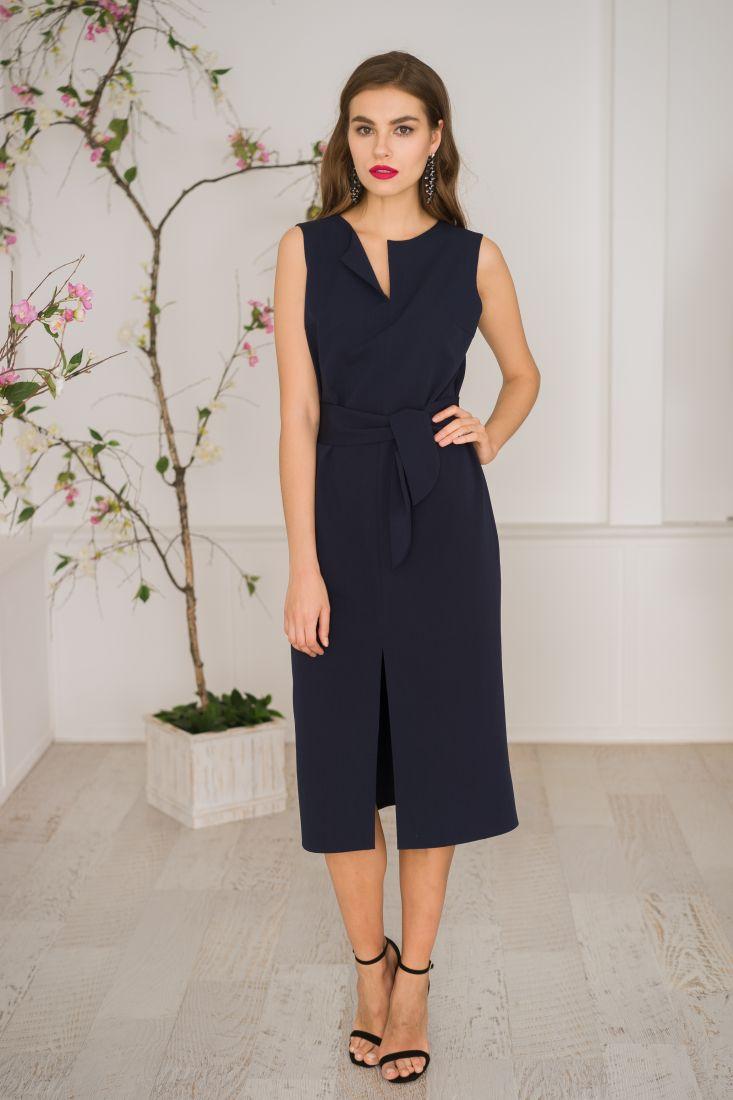 14 Платье базовое без рукавов в темно-синем цвете