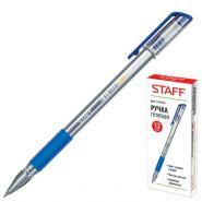 Ручка гель синяя STAFF прозр корпус резин держатель/12 141822