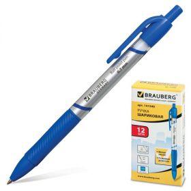 Ручка шар авт синяя BRAUBERG Leader корп серебр 0,7мм рез держ/12 141540