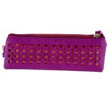 Пенал-косметичка Феникс+ фетр Сердца розовые на фиолетовом 43372