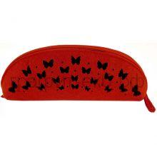 Пенал-косметичка Феникс+ фетр Бабочки черные на красном 43376