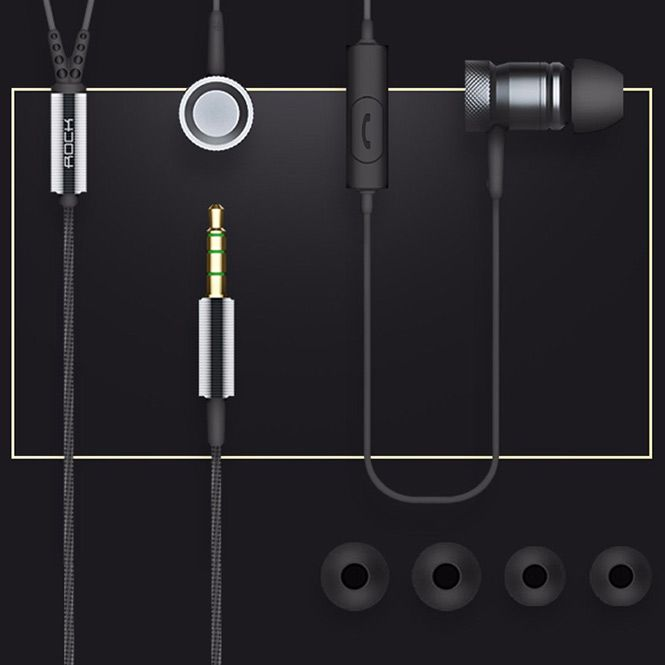 Наушники Rock Mula Stereo Earphone серые