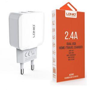 Сетевое зарядное устройство Ldnio A2202 2 USB (2,4 A) (white)
