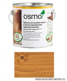 Прозрачная краска на основе цветных масел и воска для внутренних работ Osmo Dekorwachs Transparent 3123 Клен 0,75л