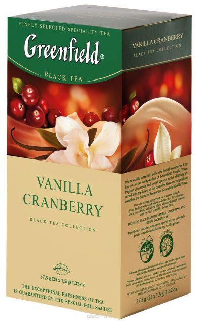 Чай Гринфилд Ванила Кренберри черный 1,5г 25пак.