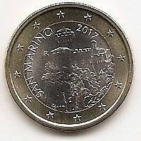 1 евро(регулярный выпуск) Сан-Марино 2017 UNC (новый дизайн)