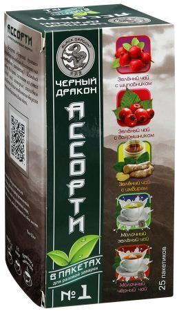 Чай Черный дракон Ассорти №1 (шип., бояр., имбирь, мол.зел, мол.черн.) 2г 25пак.ет