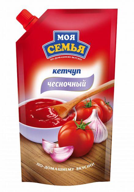Кетчуп Моя Семья Чесночный д/п 330гр