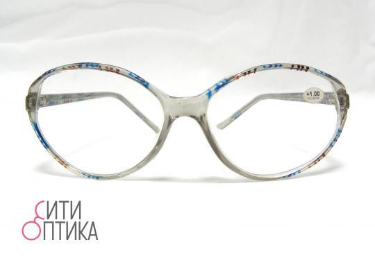 Готовые очки  с диоптриями +1.0 . Прозрачная  оправа  с полосками.