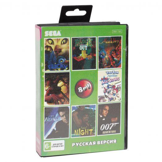 Sega картридж 8в1 (SK-8002) ALADDIN/TINY  TOON  ALL STAR/SPIDERMAN/ 007/1001 NIGHT