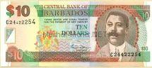 Банкнота Барбадос 10 долларов 2000 год