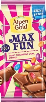 Алпен голд Максфан молочный арахис, разн. драже, карамель 160г