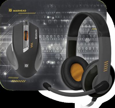 Игровой набор Warhead MPH-1500 черный,мышь+гарнитура+ковер