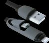 Акция!!! USB кабель USB10-03BP черный, MicroUSB+Lightning,1м