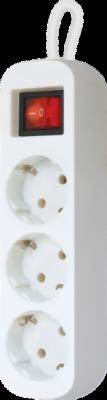 Удлинитель с заземлением S330 Выключатель, 3.0 м, 3 розетки
