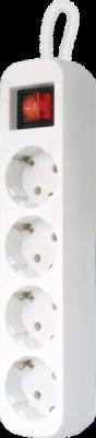 Удлинитель с заземлением S430 Выключатель, 3.0 м, 4 розетки