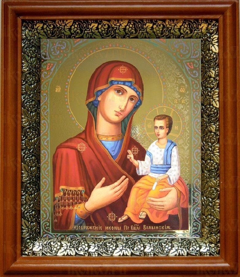 Волынская икона БМ (19х22), светлый киот