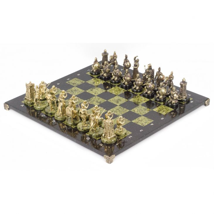 Шахматы Турецко-европейская война, доска змеевик 48 х48 см