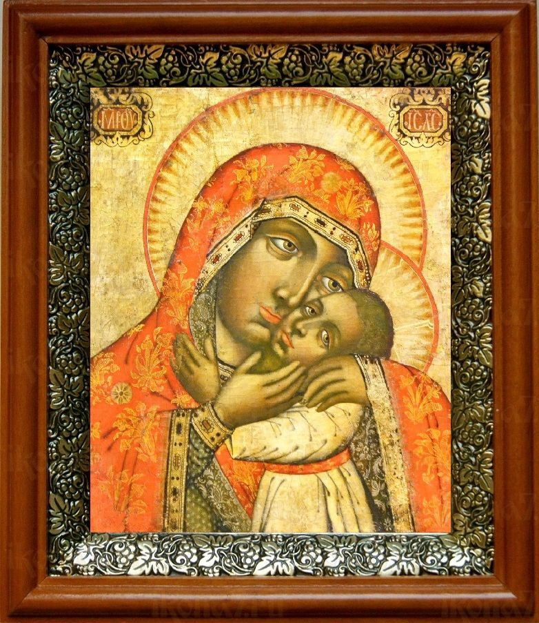 Дегтярёвская икона БМ (19х22), светлый киот