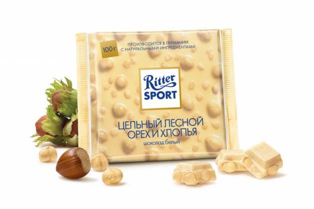 """Шок. """"РС"""" белый с лесным орехом и рисовыми хлопьями 100гр"""