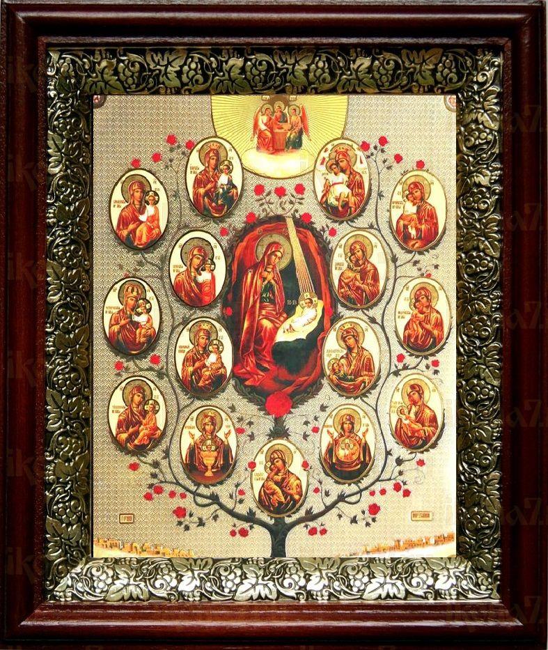 Древо Пресвятой Богородицы (19х22), темный киот