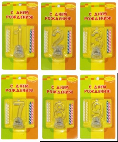 Свечи с мигающей подставкой в форме цифры