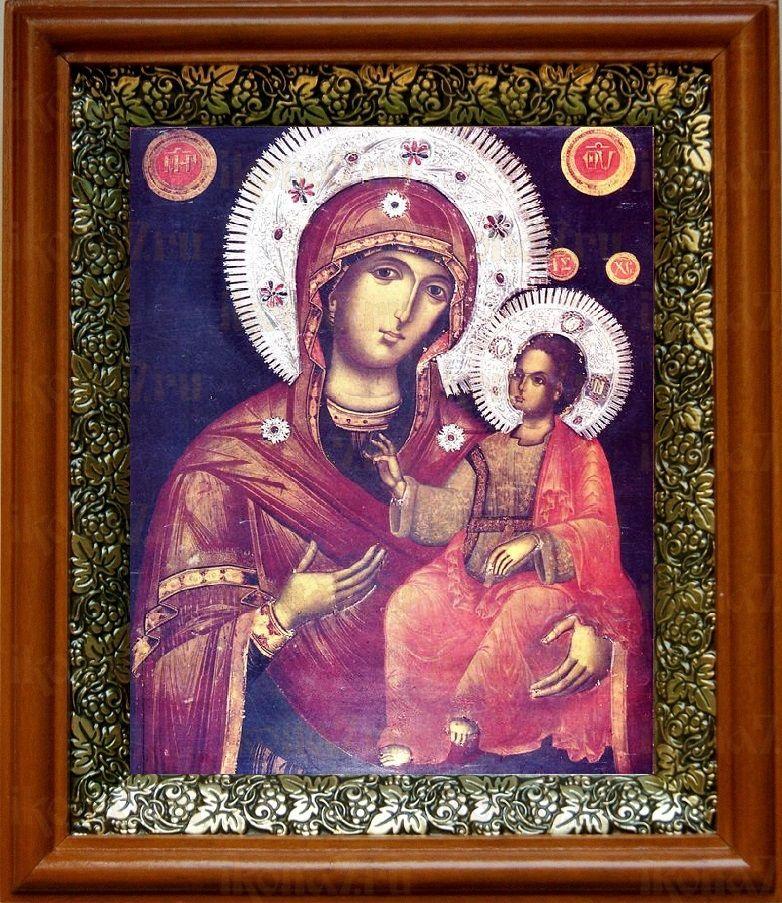 Григориатская икона БМ (19х22), светлый киот