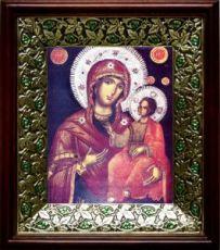Григориатская икона БМ (21х24), киот со стразами
