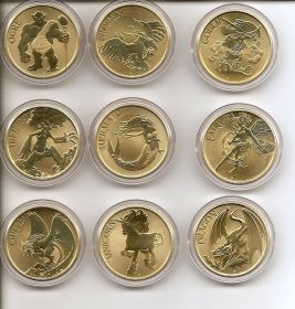 Мифические персонажи. Набор монет.1 доллар  Австралия 2011