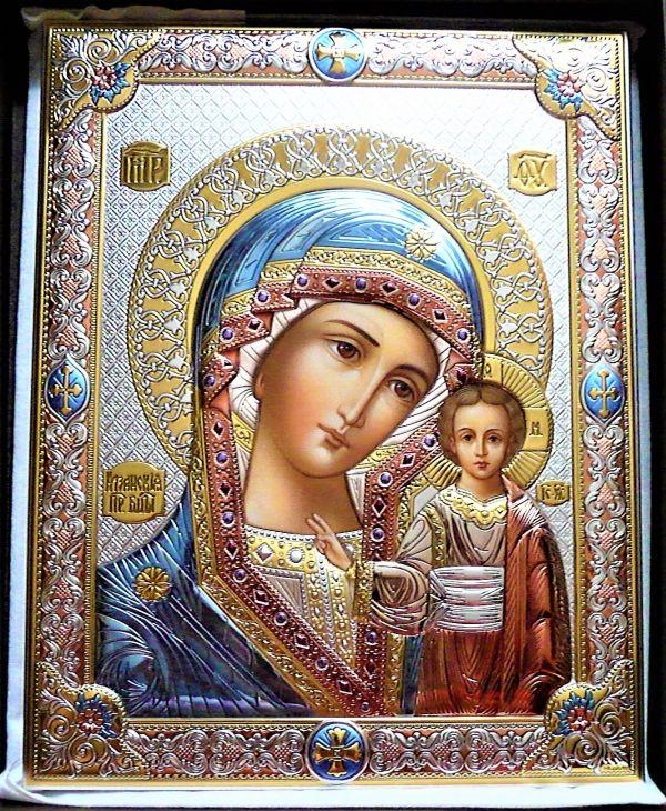 Серебряная икона Божья Матерь Казанская (листовое серебро, Италия)