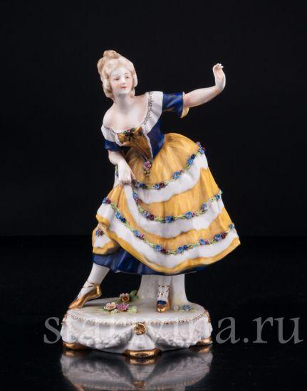 Изображение Танцующая девушка в желтом платье, Дрезден, Германия, нач. 20 в