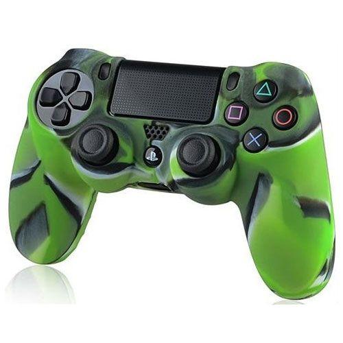 Силиконовый чехол для джойстика PS 4 (комуфляж зеленый)
