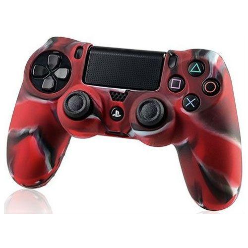 Силиконовый чехол для джойстика PS 4 (комуфляж красный)