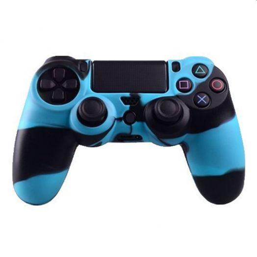 Силиконовый чехол для джойстика PS 4 (комуфляж синий)