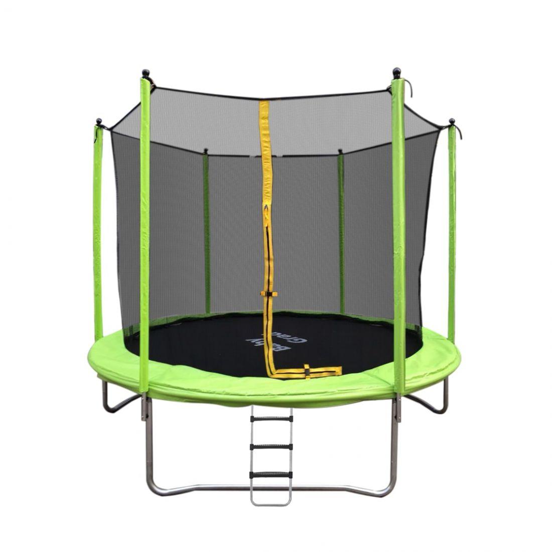 Батут с внутренней защитной сеткой - Baby Grad Оптима 8ft( 2,44 метра), цвет зеленый