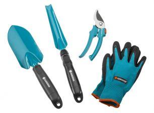 Комлект садовых инструментов базовый (секатор, лопатка, совок для прополки, перчатки садовые)