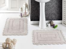 """Комплект ковриков для ванной """"MODALIN"""" кружевной EVORA 60x100 + 50x70 см(беж) Арт.5088-2"""